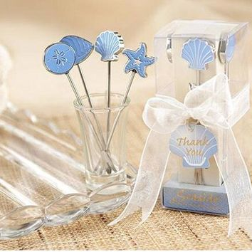 free shipping Stainless Steel Fruit Fork Pick Seaside Food Snack Dessert Cake Picks Wedding Decor Party Favors Party Gift Box