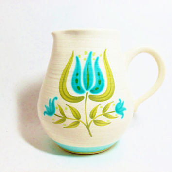 Pitcher Franciscan Earthenware Tulip Time Large Pitcher Blue Green Tulip Pattern Country Farmhouse Folk