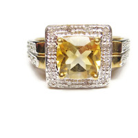 10K Two Tone Yellow and White Gold 1.5 Carat Citrine and Diamond Ring Size 7