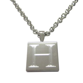 Letter H Etched Monogram Pendant Necklace