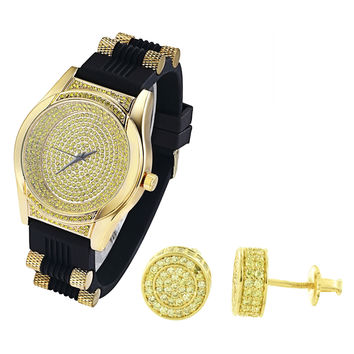 Oval Shape Canary Iced Out Watch with Silicone Bullet Band & Earrings Combo Set
