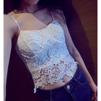 White Lace Bare-midriff Sling Top