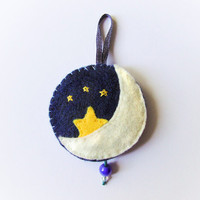Moon felt ornament, wall decor waxing moon and stars with embroidery, night blue and yellow