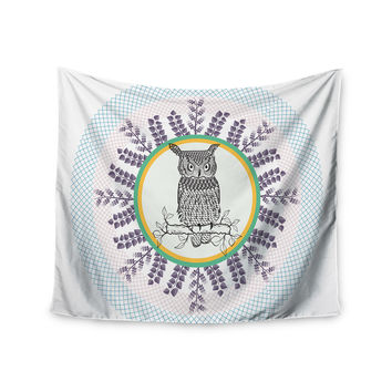 "Famenxt ""Owl"" White Purple Wall Tapestry"