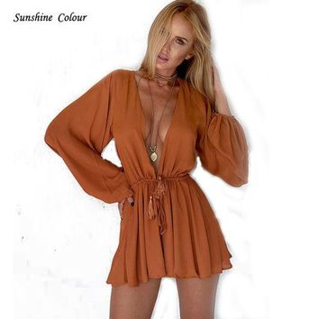 PEAPUNT 2016 New Tan Chiffon Women Jumpsuit Romper Sexy Deep V Neck Long Sleeve Drawstring One Piece Overalls Playsuits