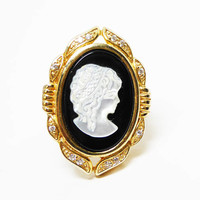 Sterling & Gold Mother of Pearl Cameo Ring -  Victorian Revival Gold over Sterling Silver Ring - Oval Molded Glass Cameo Signed SETA 925
