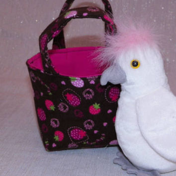 Strawberry Cockatoo Teeny Tote Bag with Plush Cockatoo and Strawberries Brown and Pink Gift for Kids