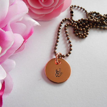I Love You Sign Copper Necklace