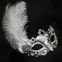 Feather Masquerade Mask in White and Silver