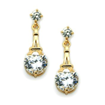 Eiffel Tower Earrings in gold: Cubic Zirconia