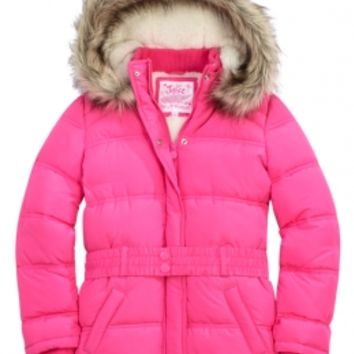 Belted Puffer Coat With Faux Fur Hood | Girls Cold Weather Gear Hot Shops | Shop Justice