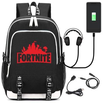 Boys bookbag trendy Black Cool Fashion Fortnite School Backpack Casual Shoulder Travel Bag  for Men Boys Children with USB Charging Port Blue AT_51_3