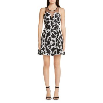 BCBGeneration Womens Textured Illusion Cocktail Dress