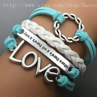 Love Bracelet - Karma Bracelet - Motto ( Where there is a will, there is a way) Bracelet  Cute Friendship Gift  531A