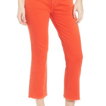 Current/Elliott The Kick Raw Hem Jeans (Fiery Red with Cut Hem) | Nordstrom