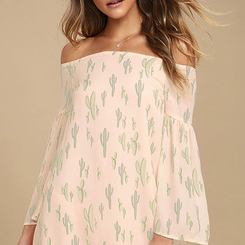 Saguaro Tomorrow Blush Pink Cactus Print Off-the-Shoulder Dress