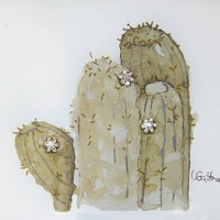 Southwest home decor. Hand painted Original watercolor art. Sage green Barrel Cactus with vintage rhinestone button sparkle. Affordable gift