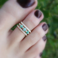 Toe Ring, Natural Jasper Bead Toe Ring
