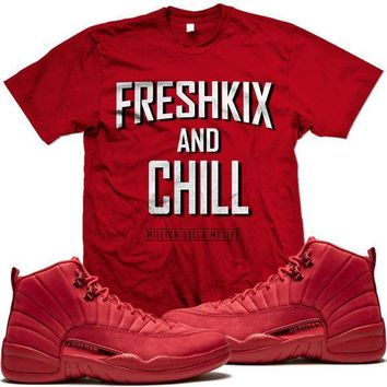 Jordan 12 Gym Red Sneaker Tees Shirt to Match - FRESHKIX