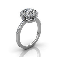 Classic Bridal 14K White Gold 1.0 Ct White Topaz Diamond Solitaire Ring R408-14KWGDWT