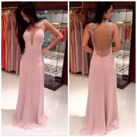 Pink Backless Crochet Patch Maxi Dress