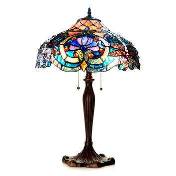 "LYDIATiffany-style 2 Light Victorian Table Lamp 17"" Shade"