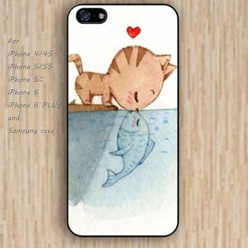 iPhone 6 case cat kiss fish heart iphone case,ipod case,samsung galaxy case available plastic rubber case waterproof B054