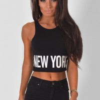 Selter Black Cropped New York Top | Pink Boutique