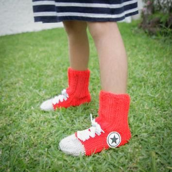 Hand Knit Converse socks For Kids, Red Handmade Warm Socks, Hipster Clothing, Red Acce