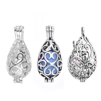 CREYON5U 20pcs Hollow Cage Filigree Vintage Teardrop Pendants Aromatherapy Mermaid Essential Oil Diffuser Necklace Locket For DIY Jewelry