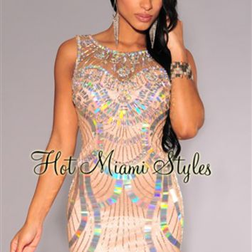 Nude Silver Iridescent Embellished Padded Dress