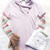 SHADES OF THE DESERT SUNSET BUTTON SWEATER IN LILAC