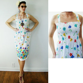 VINTAGE 1960s NOS Maxi Summer Sun Dress Flowers SMALL