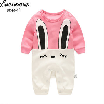 2017 new style boys girls rompers baby newborn o-neck long sleeve cotton cartoon cute jumpsuit toddler sleepwear children Onesuit