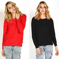 Women Sexy Crewneck Long Sleeve Knitted Sweater Casual Loose Pullover Jumper Coat Knitwear  SV008140