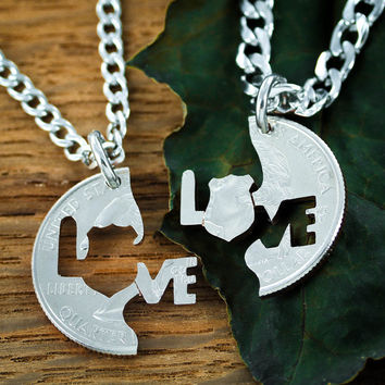 Police Wife Necklaces, Law enforcement Couples Jewelry, Hand cut coin