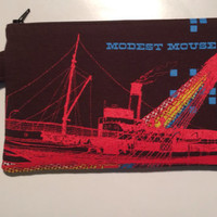 Modest Mouse Bag Upcycled T-shirt Clutch