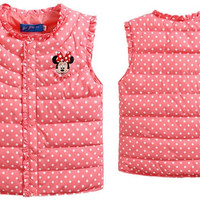 Girls Minnie Coat Cute Winter Baby Minnie Mouse Down Vest Waistcoats Kids Warm Jacket Children Clothes 3 Color Suit 3-8T