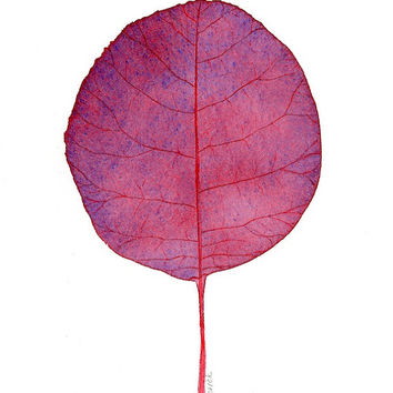 Botanical Leaf Art Print, Modern Watercolor Leaf Painting Botanical Wall Art, Contemporary Art Print, Maroon Purple Red Leaf Illustration L2
