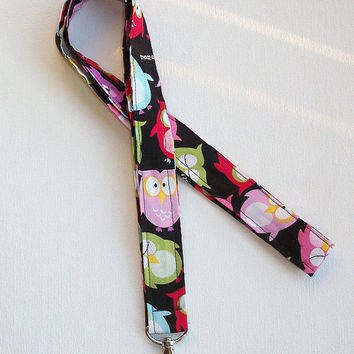 Lanyard / ID Holder with lobster claw clasp - Sleepy Owls