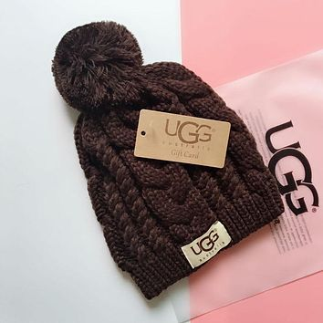 """UGG"" Fashionable Lover Chic Knit Hat Warm Cap Coffee"