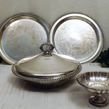 Wm A Rogers Silver Plate Serving Tray Serving Dish Set Buffet Set
