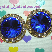 Royal Blue ShowStoppers - Crystal Post Earrings handmade with Swarovski Elements, 20mm Studs