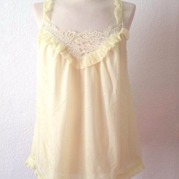 Vintage 60s Nightgown | Yellow Chiffon Nightgown | Lace Short Nightgown | Medium M
