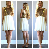 A Two Layer Sequin Dress in Ivory