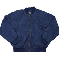 Vintage 90s Silk Bomber Jacket in Navy Blue Mens Size Medium