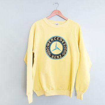 vintage sweatshirt / raglan / Mercedes Benz / oversize / 1990s yellow Mercedes sweatshirt XL
