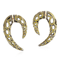 Diamond Tunnel Earrings 18 kt Gold Silver