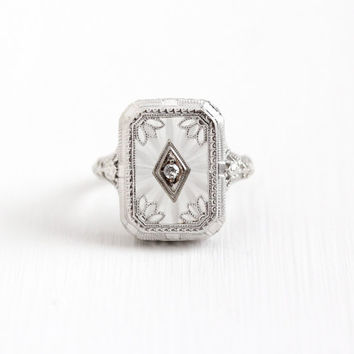 Antique 14k White Gold Rock Crystal & Diamond Ring - Vintage Size 6 3/4 Art Deco Flower Filigree Camphor Glass Style Statement Fine Jewelry