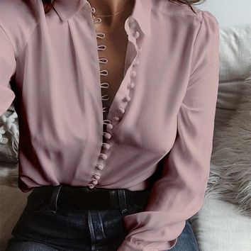 Top Fashion 2018 ZANZEA Blusas Casual Solid Lapel Long Sleeve Buttons Blouse Sexy Women Elegant Business Shirt Baggy Pullovers